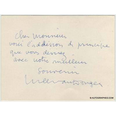 Kees VAN DONGEN - Carte autographe signée (Brigitte Bardot aux yeux d'autruche)