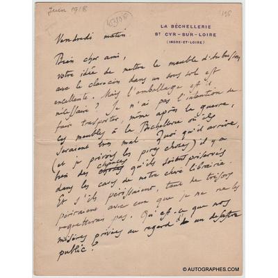 Anatole FRANCE - Lettre autographe signée à un ami (Première Guerre mondiale)