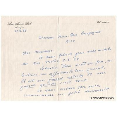 [Salvador DALI] Ana Maria DALI - 2 lettres autographes signées à propos de son frère