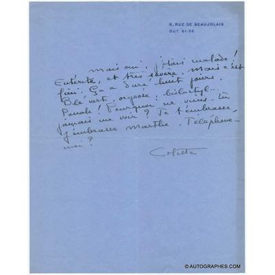 Sidonie Gabrielle COLETTE - Lettre autographe signée