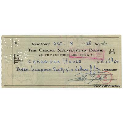 Edith PIAF - Chèque de banque américain signé à New York (1956)