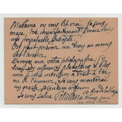Joséphin PELADAN - Carte de visite autographe signée du mage à une dame