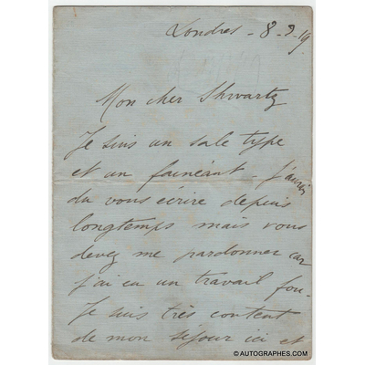 Maurice CHEVALIER - Lettre autographe signée envoyée depuis Londres (1919)
