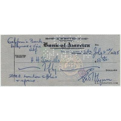 Errol FLYNN - Chèque avec signature autographe (voilier Zaca / Cuba)
