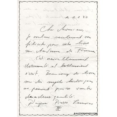Karl LAGERFELD - Lettre autographe signée adressée à un auteur (1990)