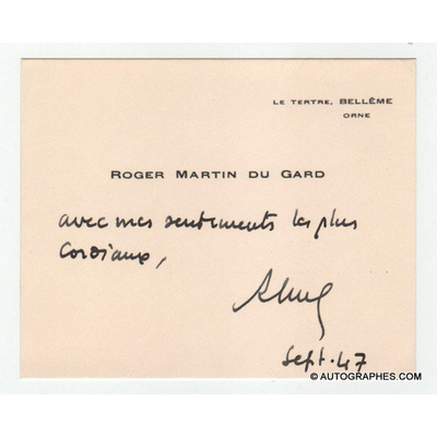 Roger MARTIN DU GARD - Carte de visite autographe signée (septembre 1947)