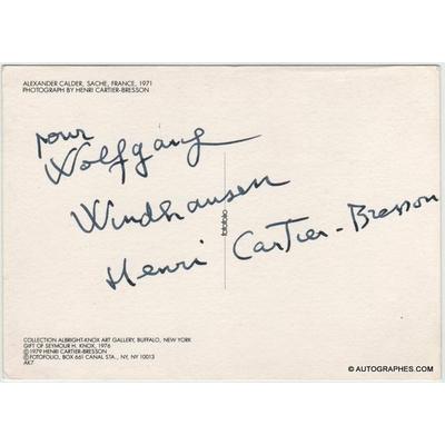 Henri CARTIER-BRESSON - Carte postale dédicacée et signée