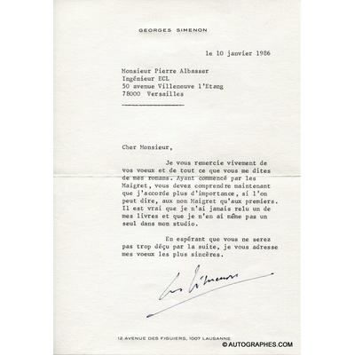 """Georges SIMENON - Lettre dactylographiée signée à propos des """"Maigret"""" (1986)"""