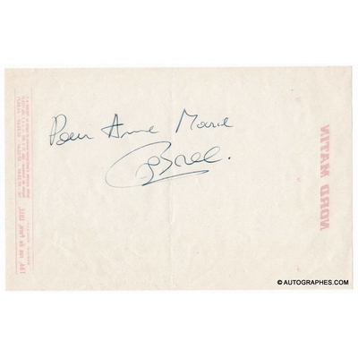 Jacques BREL - Dédicace autographe au dos d'un feuillet Nord Matin