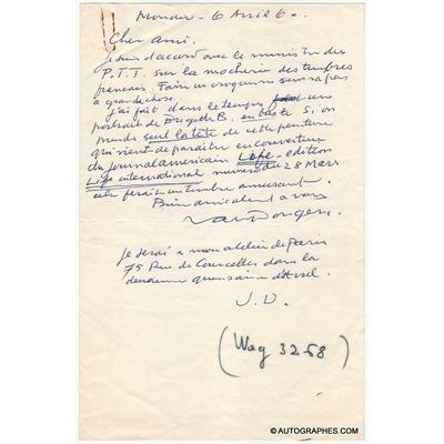 Kees VAN DONGEN - Lettre autographe signée à propos de son portrait de Brigitte BARDOT