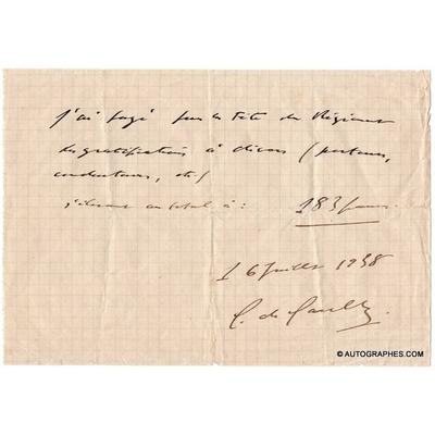 Charles de GAULLE - Billet autographe signé (16 juillet 1938)