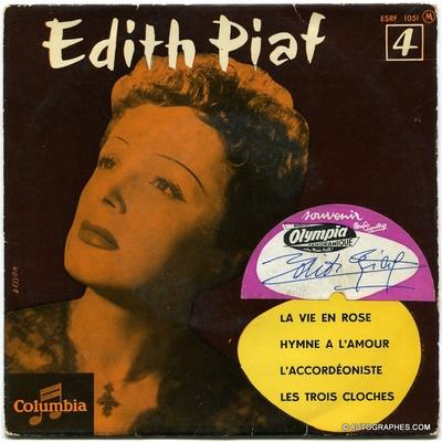 Edith PIAF - Signature autographe sur pochette du Super 45 tours La Vie en rose