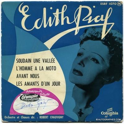 Edith PIAF - Signature autographe sur pochette du Super 45 tours L'Homme à la moto