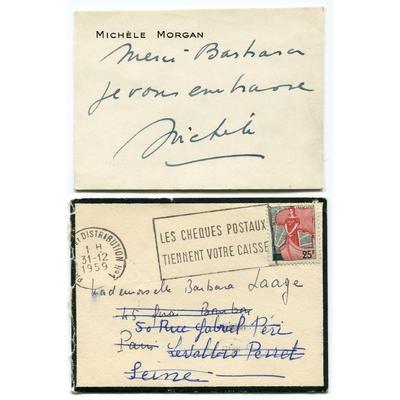 Michèle MORGAN - Carte de visite autographe signée (1959)