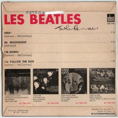 John LENNON - Signature autographe sur super 45 tours Help! des Beatles