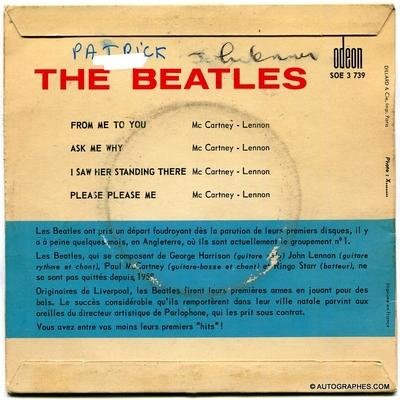 John LENNON - Signature autographe sur super 45 tours From Me To You des Beatles