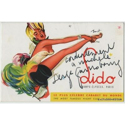 Serge GAINSBOURG - Carte postale publicitaire dédicacée et signée (Lido de Paris)