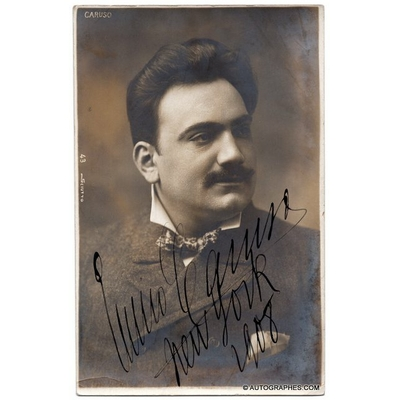 Enrico CARUSO - Portrait photographique signé (New York / 1908)