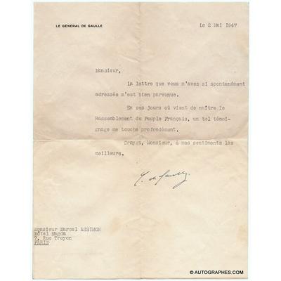 Charles de GAULLE - Lettre dactylographiée signée (Naissance du RPF / 1947)