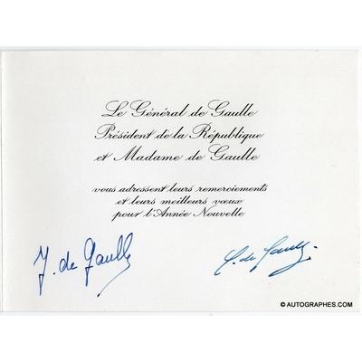 Charles de GAULLE et Yvonne de GAULLE - Carte de vœux signée (1967)