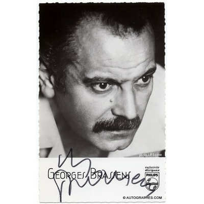 Georges BRASSENS - Carte photographique promotionnelle signée