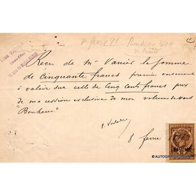"""Paul VERLAINE - Reçu signé relatif à son recueil de poèmes """"Bonheur"""" (1891)"""