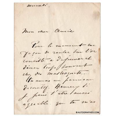 Jean-Louis FORAIN - Lettre autographe signée à un ami