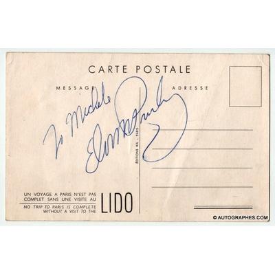 Elvis PRESLEY - Carte postale dédicacée et signée (Lido de Paris - 1959)