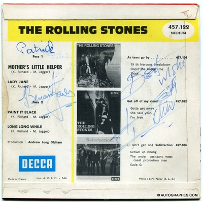 THE ROLLING STONES (Brian JONES et Keith RICHARDS) - Signatures autographes sur le 45 tours Mother's Little Helper