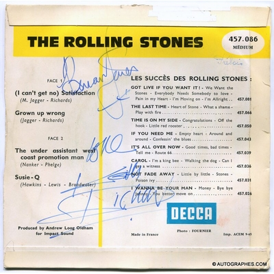 THE ROLLING STONES (Brian JONES & Keith RICHARDS) - Signatures autographes sur le 45 tours (I Can't Get No) Satisfaction