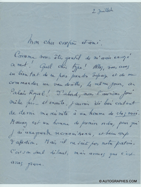 lettre-autographe-signee-marcel-pagnol-quinson-palais-royal-1