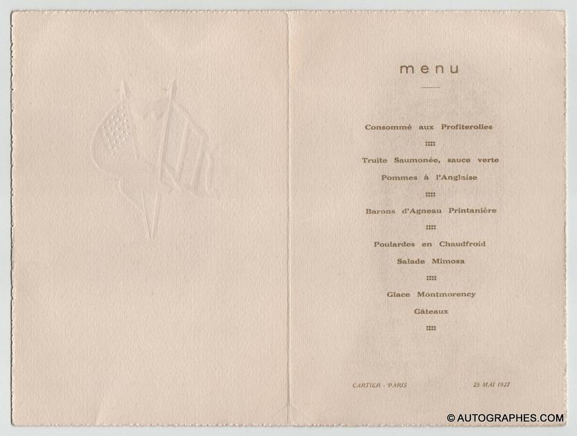 menu-dedicace-autographe-charles-lindbergh-herrick-lyautey-paris-bourget-1927-2