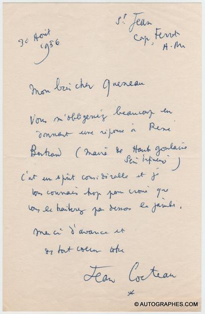 lettre-autographe-signee-jean-cocteau-raymond-queneau-1956