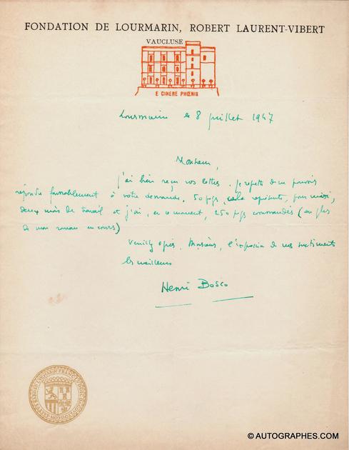 lettre-autographe-signee-henri-bosco-lourmarin-1947