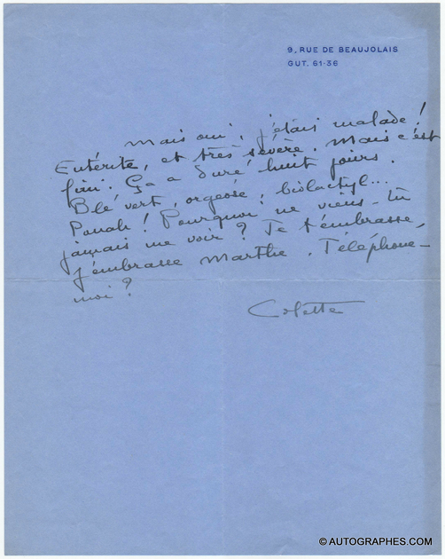 lettre-autographe-sidonie-gabrielle-colette-palais-royal
