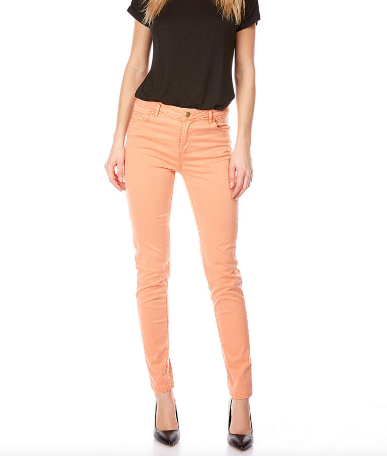 pantalon taille haute slim orange femmes pantalon short jean lora. Black Bedroom Furniture Sets. Home Design Ideas
