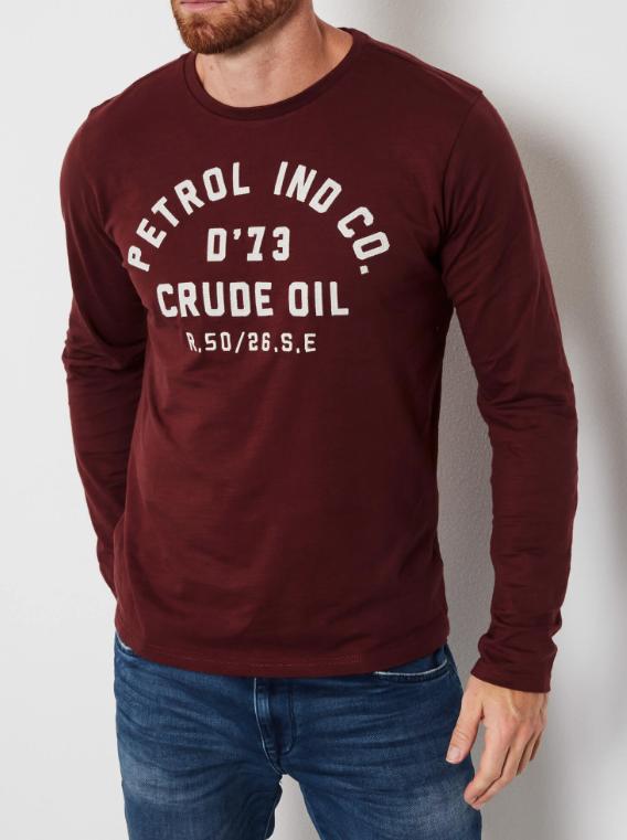 Tee shirt logo marine bordeaux