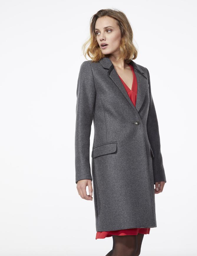 Manteau mi-long gris femme IKKS