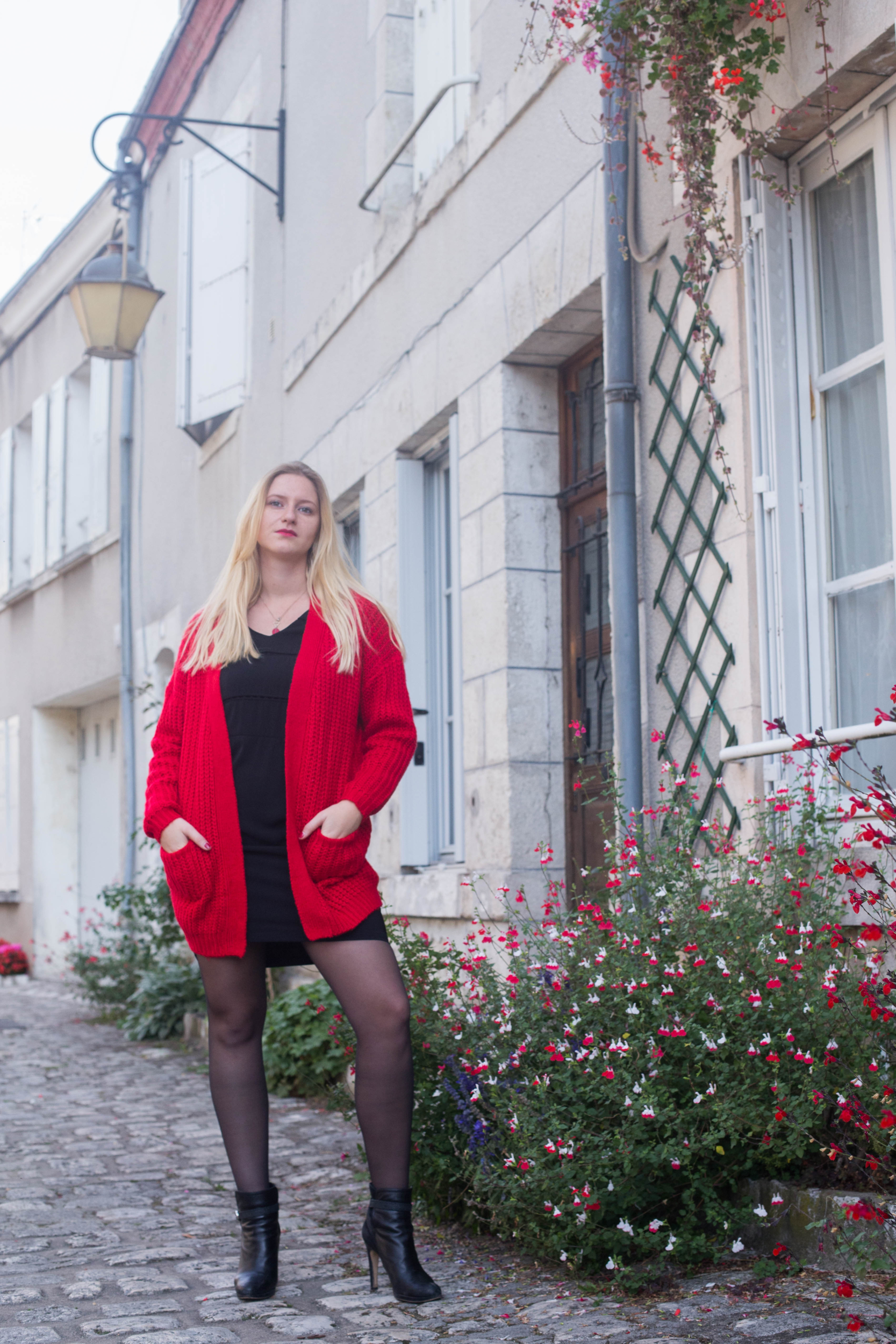 Gilet grosse maille rouge