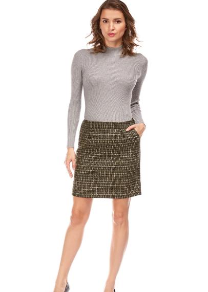 Jupe en Tweed à carreaux Tissage fantaisie fils métalliques