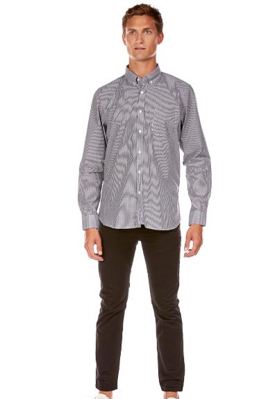 Chemise rayée avec poche poitrine gris best mountain