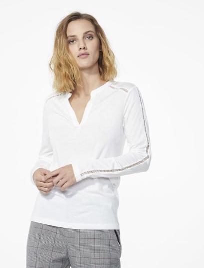 Tee-shirt jour échelle femme blanc IKKS