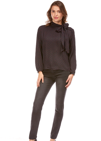 Blouse imprimée pois col cravate NOIR BEST MOUNTAIN