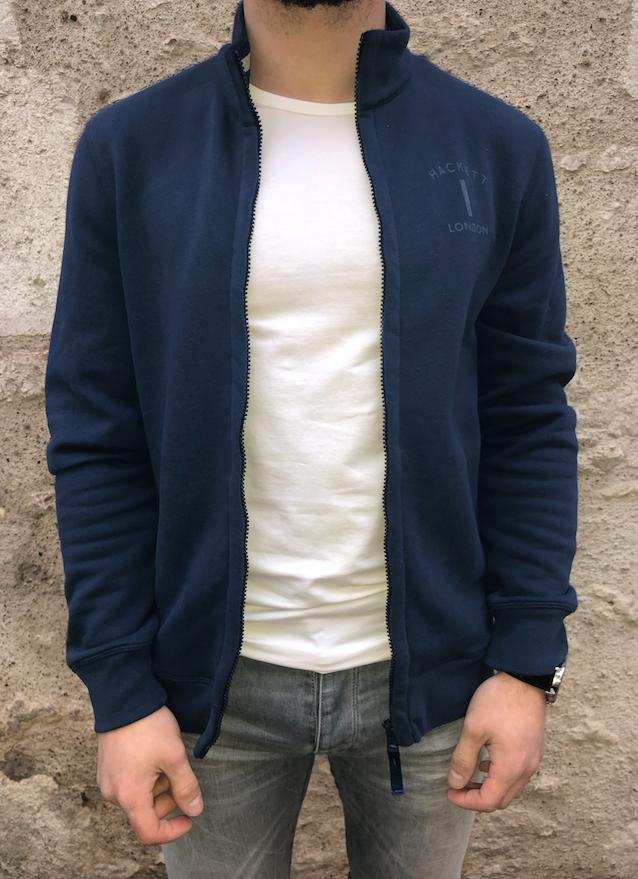 Sweatshirt en coton mélangé et fermeture éclair sur le devant