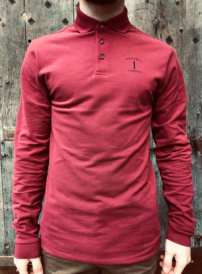 Polo manches longues bordeaux Hackett London