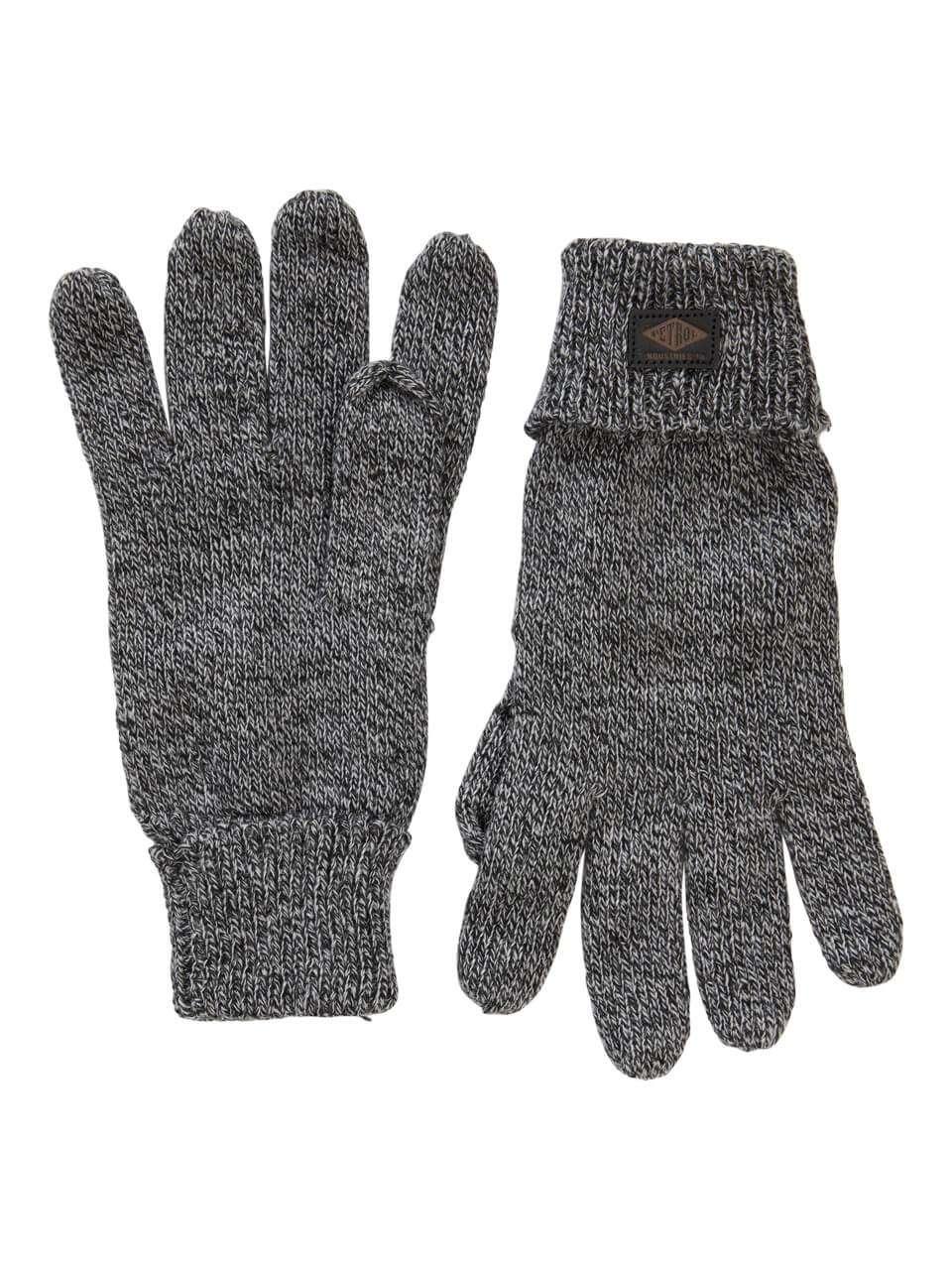 Gant noir moucheté en tricot Petrol Industries