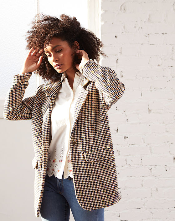 Manteau à carreaux femme I.Code