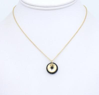 Collier métal-pierre reconstituée noir : collier0119152-01mtal-pierrereconstitue 1