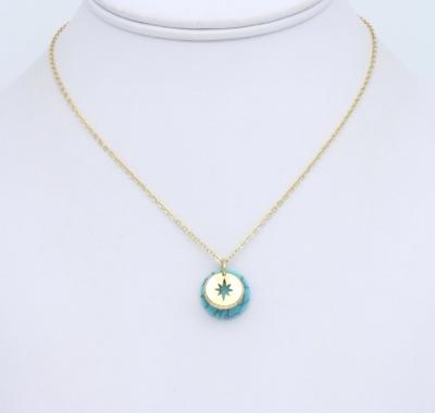 Collier métal-pierre reconstituée Turquoise : collier0119152-17mtal-pierrereconstitue 1