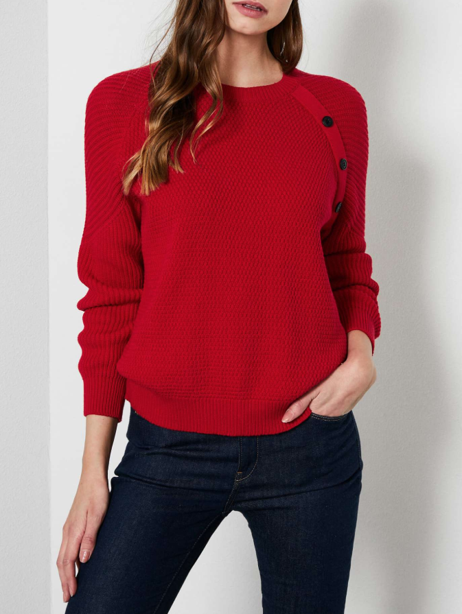 Pull rouge col rond oversize